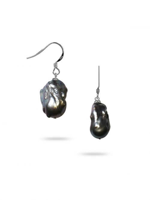 POLYNESIA COLLECTION 25MM METALLIC GRAY BAROQUE PEARL EARRINGS
