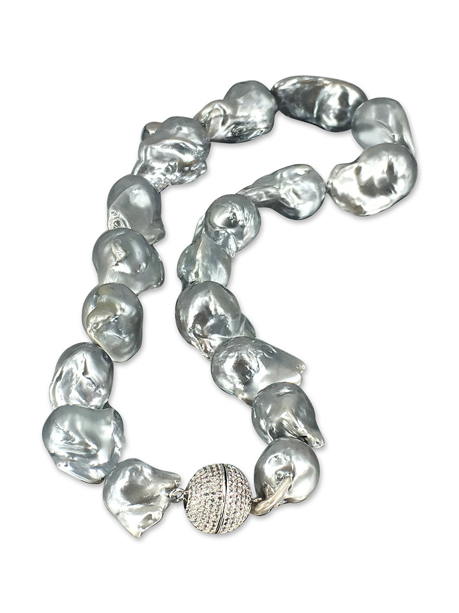 PACIFIC PEARLS POLYNESIA COLLECTION Metallic Gray 15-20mm Giant Baroque Pearl Necklace