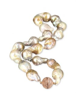 PACIFIC PEARLS POLYNESIA COLLECTION Pink Champagne 15-20mm Giant Baroque Pearl Necklace