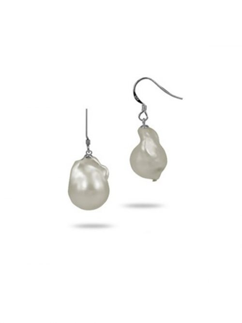 PACIFIC PEARLS POLYNESIA COLLECTION White 15mm Giant Baroque Pearl Earrings