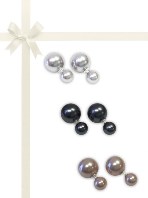 PACIFIC PEARLS OYSTER BAY COLLECTION Three-Piece Reversible Earring Gift Set