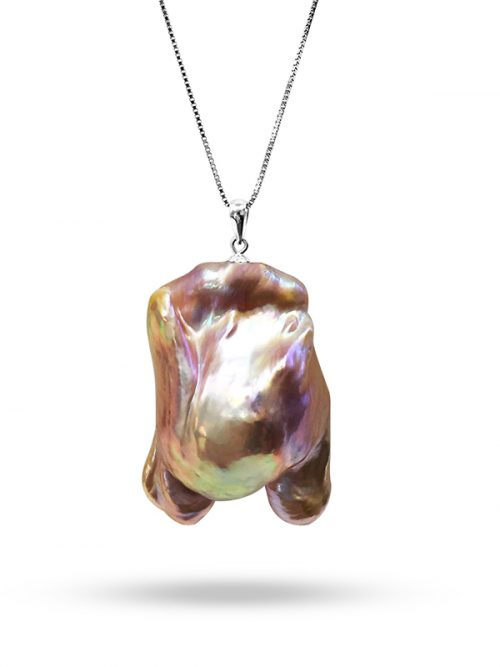 PACIFIC PEARLS POLYNESIA COLLECTION Pink Champagne 25-30mm Giant Baroque Pearl Pendant