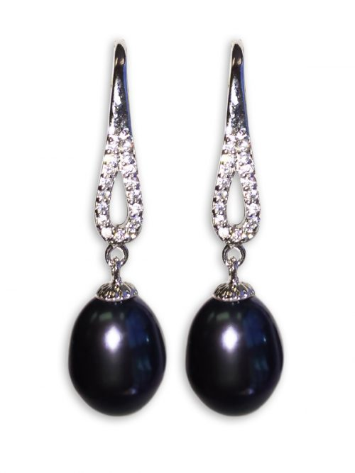 TERAINA COVE COLLECTION BLACK DIAMOND DROP PEARL EARRINGS