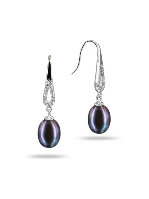 TERAINA COVE COLLECTION BLACK DIAMOND ENCRUSTED DROP PEARL EARRINGS