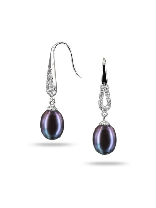 TERAINA COVE COLLECTION DIAMOND DROP BLACK PEARL EARRINGS