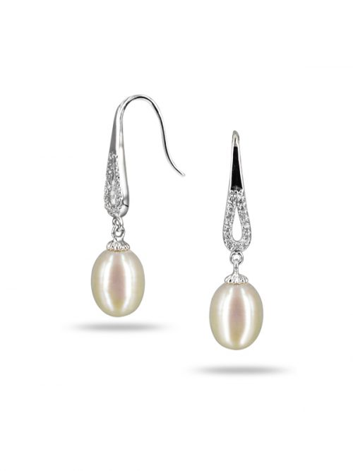 TERAINA COVE COLLECTION DIAMOND DROP WHITE PEARL EARRINGS