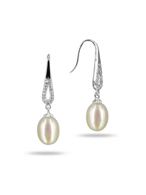 TERAINA COVE COLLECTION WHITE DIAMOND ENCRUSTED DROP PEARL EARRINGS