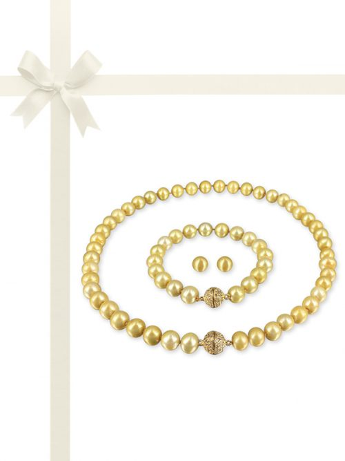 PACIFIC PEARLS MARIA-THERESA REEF COLLECTION Chrysanthemum Gold Pearl Gift Set