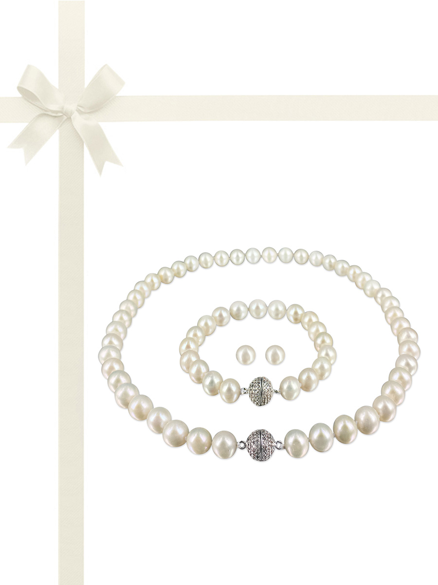 PACIFIC PEARLS MARIA-THERESA REEF COLLECTION Magnolia White Pearl Gift Set