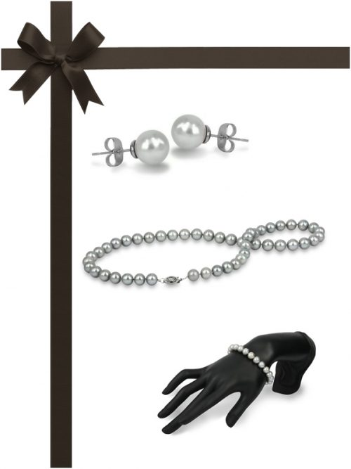 MARIA-THERESA REEF COLLECTION Silver-Gray Pearl Three-Piece Gift Set