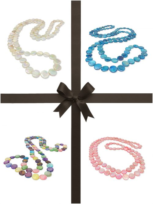 OYSTER BAY COLLECTION DOUBLE STRAND MOTHER-OF-PEARL NECKLACE GIFT SET