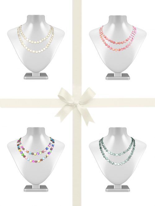 PACIFIC PEARLS OYSTER BAY COLLECTION Double Strand Mother-of-Pearl Necklace Gift Set