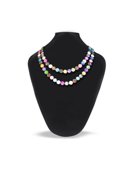 OYSTER BAY COLLECTION KALEIDOSCOPIC MOTHER OF PEARL DOUBLE STRAND NECKLACE