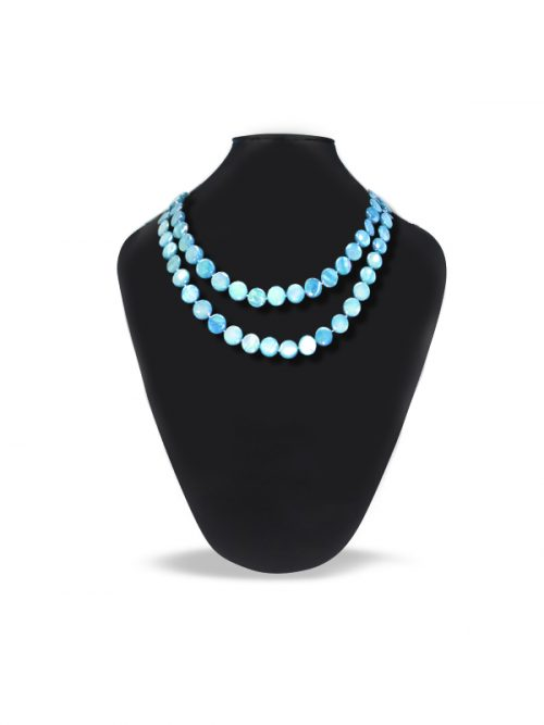 OYSTER BAY COLLECTION LAGOON BLUE MOTHER OF PEARL DOUBLE STRAND NECKLACE