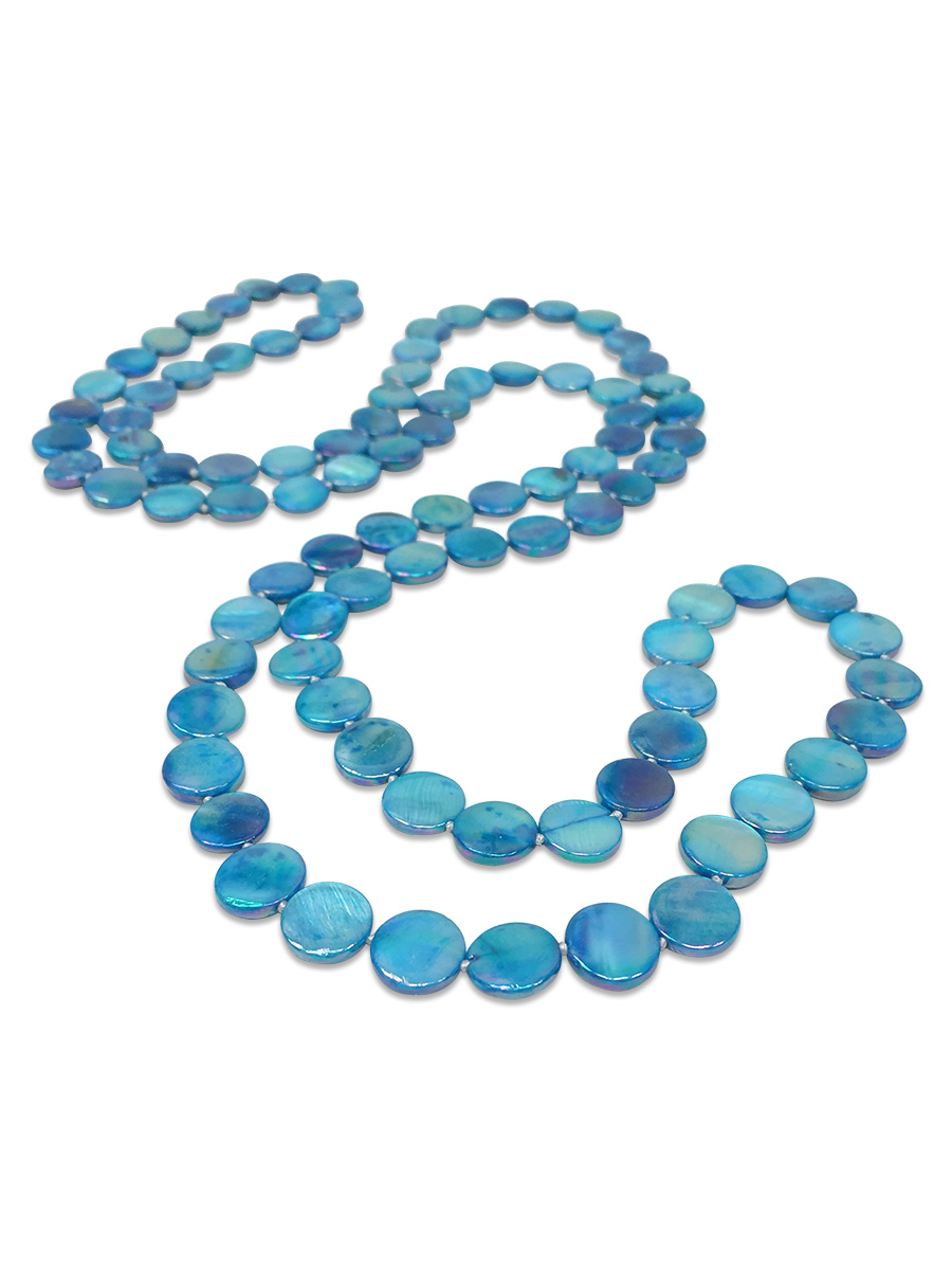 PACIFIC PEARLS OYSTER BAY COLLECTION Lagoon Blue Double Strand Mother-of-Pearl Necklace