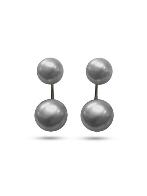 PACIFIC PEARLS PALLISER LAGOON COLLECTION Gray Double Stud Pearl Earrings
