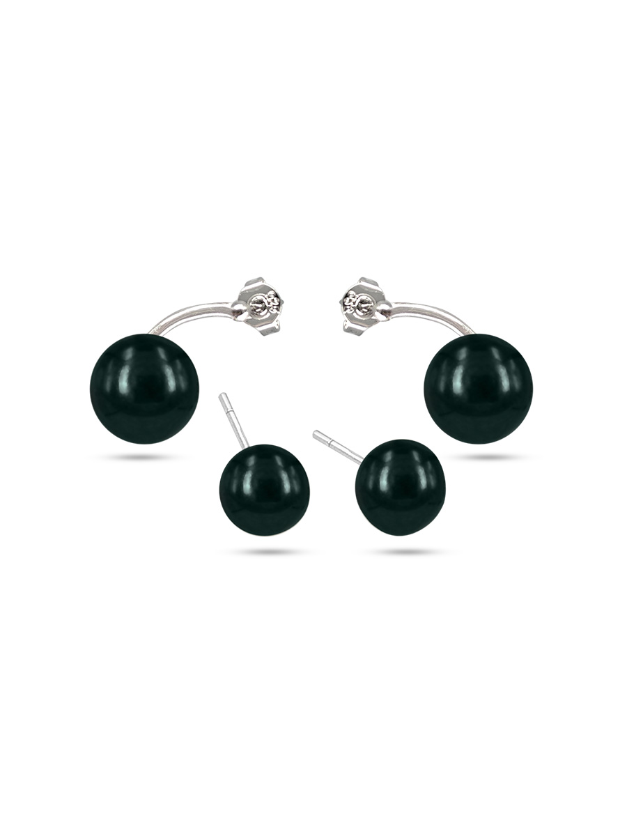 PACIFIC PEARLS PALLISER LAGOON COLLECTION Peacock Double Stud Pearl Earrings