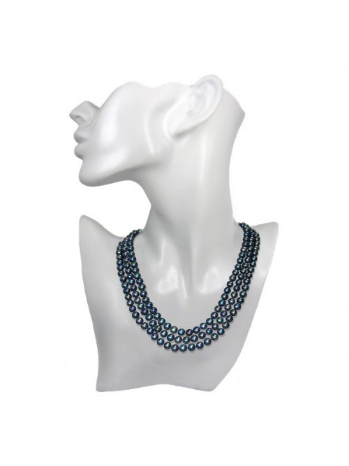 ROYAL FALLS COLLECTION MARINE TRIPLE LAYER PEARL NECKLACE
