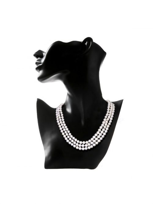 ROYAL FALLS COLLECTION WHITE TRIPLE STRAND PEARL NECKLACE