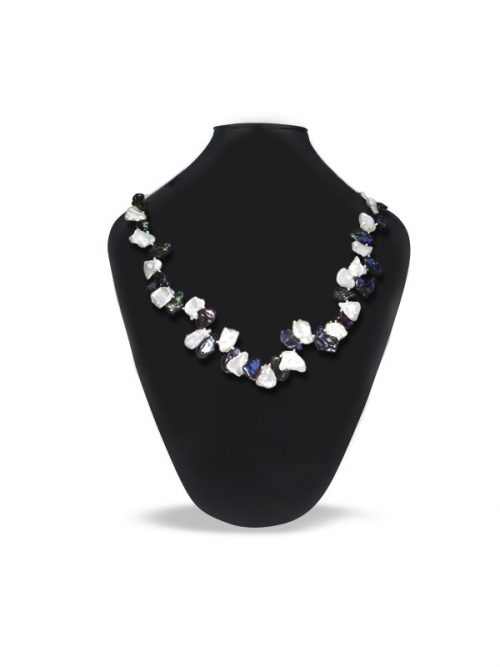 PACIFIC PEARLS ALOHA COLLECTION Black and White Petal Pearl Necklace and Bracelet Set
