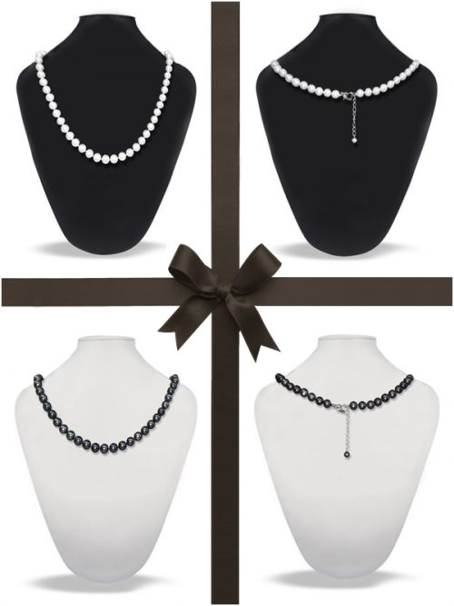ROYAL FALLS COLLECTION 21-23 Inch Matinee Length Pearl Necklace Gift Set