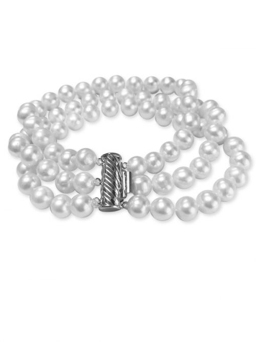 PACIFIC PEARLS ROYAL FALLS COLLECTION Ivory 7-8mm Triple Strand Pearl Bracelet