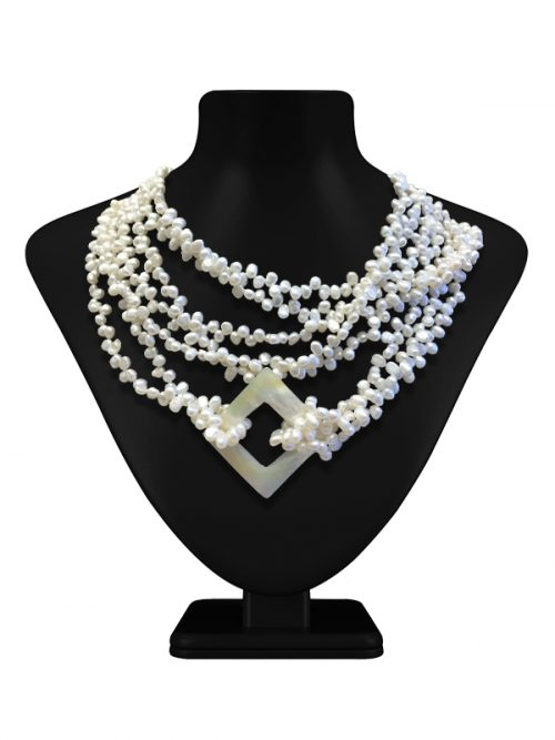 MAUNA LOA COLLECTION 4-5MM CHIFFON WHITE BAROQUE PEARL NECKLACE