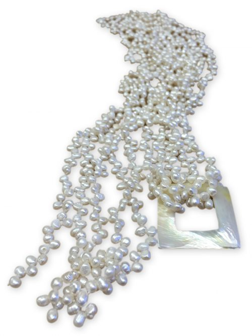 MAUNA LOA COLLECTION CHIFFON WHITE BAROQUE PEARL NECKLACE