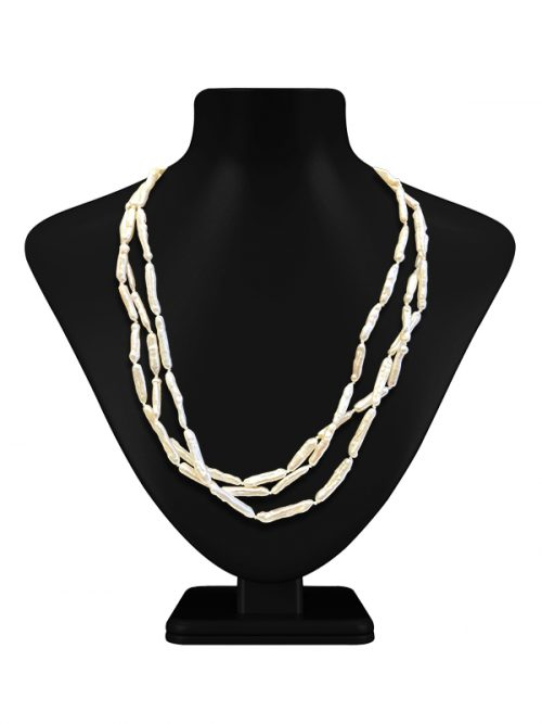 MAUNA LOA COLLECTION WHITE TRIPLE STRAND GIANT RICE PEARL NECKLACE