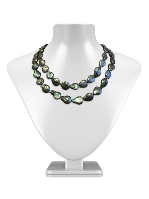 BORA BORA COLLECTION DEEP-EMERALD DOUBLE-STRAND COIN PEARL NECKLACE