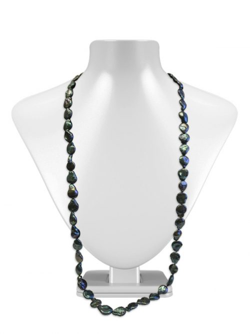 PACIFIC PEARLS BORA BORA COLLECTION Deep Emerald Double Strand Coin Pearl Necklace