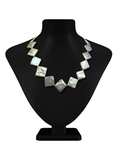 PACIFIC PEARLS MAUNA LOA COLLECTION Navajo White Giant Square Pearl Necklace