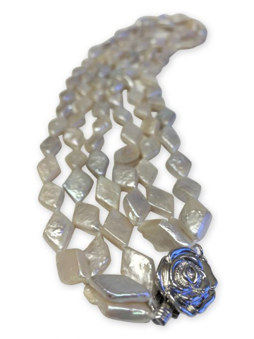 PACIFIC PEARLS MAUNA LOA COLLECTION Navajo White Triple Strand Rhomboid Pearl Necklace