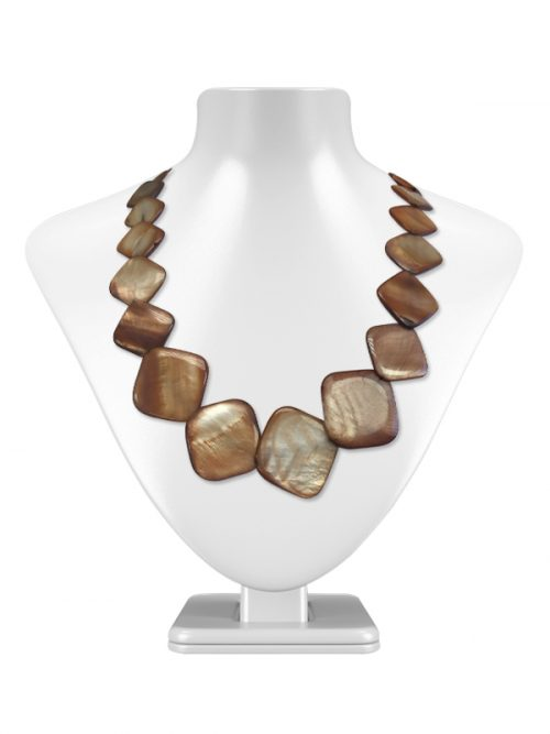 OYSTER BAY COLLECTION CARAMEL SQUARE MOTHER OF PEARL NECKLACE