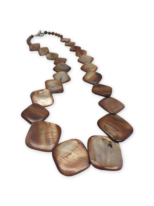 OYSTER BAY COLLECTION Caramel Square Mother-of-Pearl Necklace