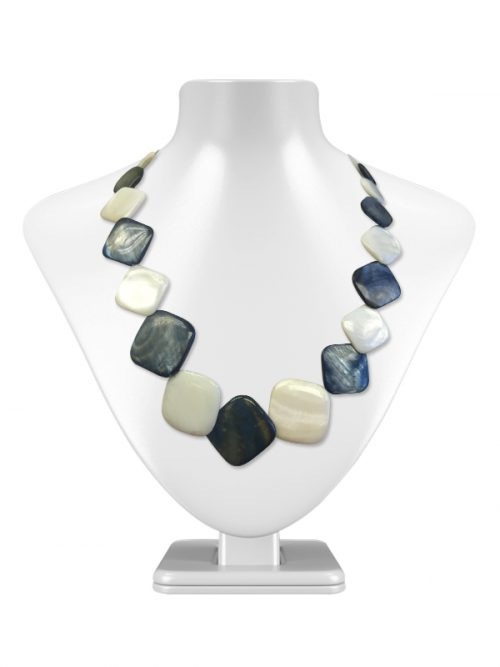 OYSTER BAY COLLECTION SQUARE VANILLA AND BLUEBERRY MOTHER-OF-PEARL NECKLACE