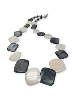 PACIFIC PEARLS OYSTER BAY COLLECTION Vanilla and Blueberry Square Mother-of-Pearl Necklace