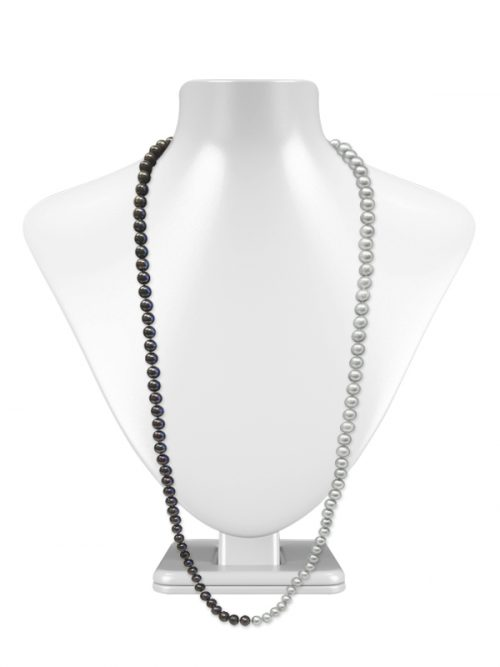 ROYAL FALLS COLLECTION SILVER AND BLACK 34 INCH PEARL NECKLACE