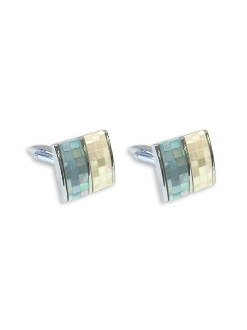 PACIFIC PEARLS KON-TIKI COLLECTION Blue and White Mother-of-Pearl Cufflinks
