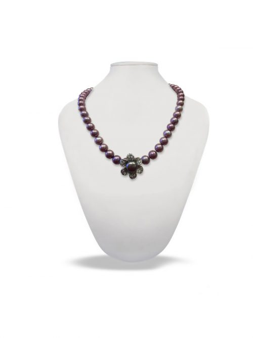 PALLISER LAGOON COLLECTION Smoky Lavender Diamond Encrusted Pearl Pendant and Necklace Enhancer