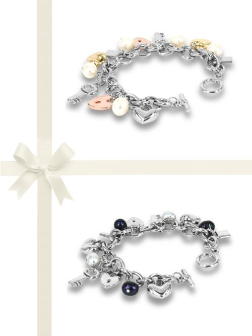 PACIFIC PEARLS ROSE ATOLL COLLECTION Two-Piece Baroque Pearl Charm Bracelet Gift Set