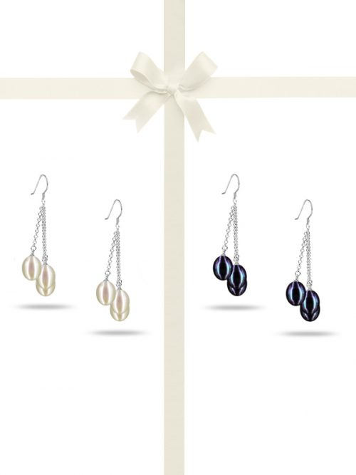 PACIFIC PEARLS SULU SEA COLLECTION Triple Drop Pearl Earring Gift Set