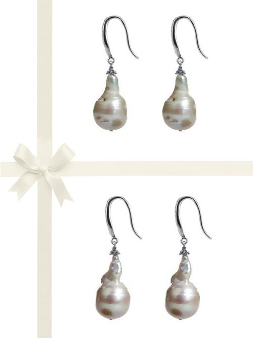 PACIFIC PEARLS POLYNESIA COLLECTION Diamond Encrusted Giant Baroque Pearl Statement Earring Gift Set