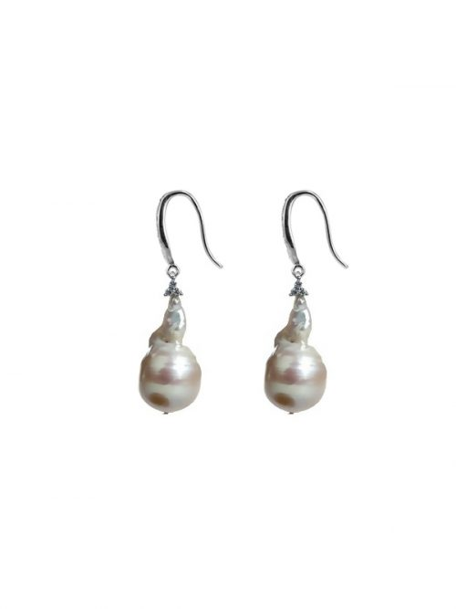 PACIFIC PEARLS POLYNESIA COLLECTION Diamond Encrusted Giant Baroque Pearl Statement Earrings