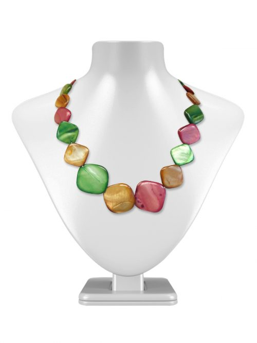 OYSTER BAY COLLECTION Caramel, Dusty Rose, and Mint Square Mother-of-Pearl Necklace