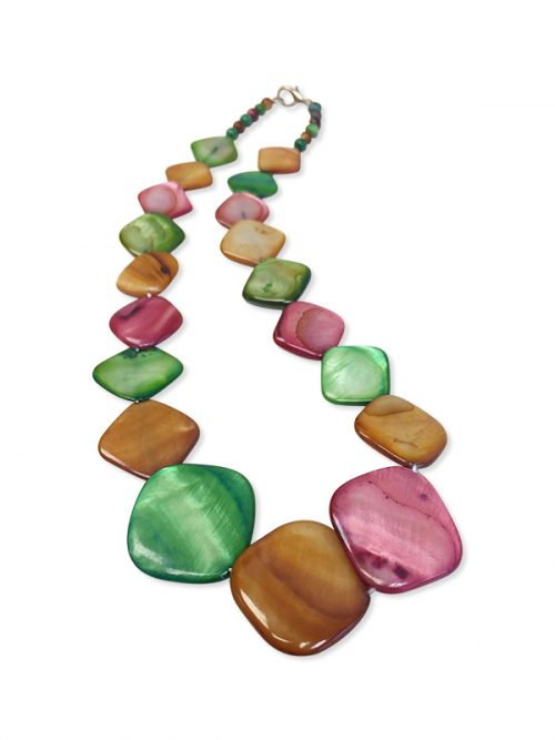 PACIFIC PEARLS OYSTER BAY COLLECTION Caramel, Mint, and Dusty Rose Square Mother-of-Pearl Necklace