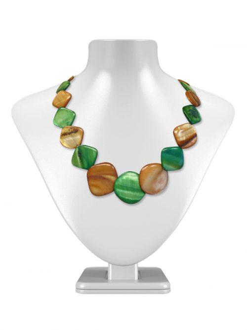 OYSTER BAY COLLECTION Caramel and Mint Square Mother-of-Pearl Necklace
