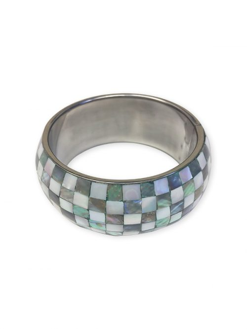 OYSTER BAY COLLECTION Chequered Mother-Of-Pearl Bangle