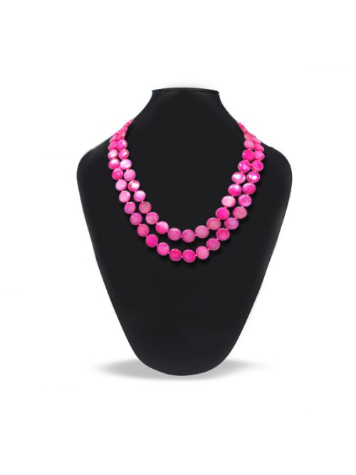 OYSTER BAY COLLECTION DOUBLE STRAND HOT PINK MOTHER-OF-PEARL NECKLACE