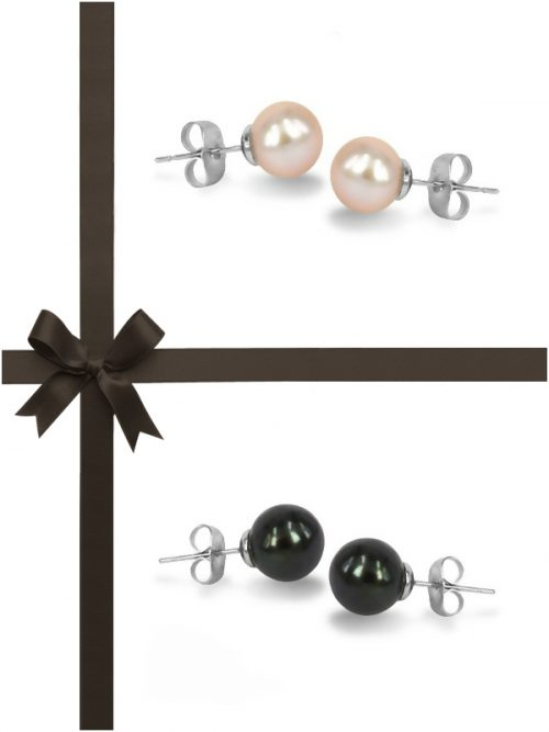 MARIA-THERESA REEF COLLECTION Black and Pink Pearl Stud Earring Gift Set